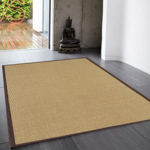 Sisal Linen/Chocolate Natural Decorative Rug by Asiatic 2
