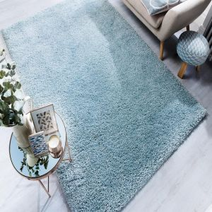 Athena Duck Egg Plain Rug by Flair Rugs