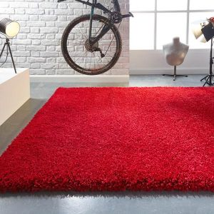 Athena Red Plain Rug By Flair Rugs