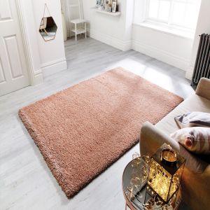 Athena Rose Gold Plain Rug by Flair Rugs