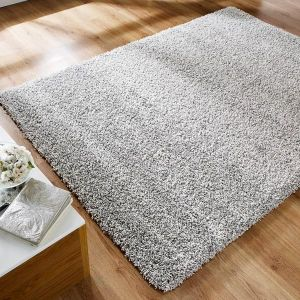 Athena Silver Plain Rug By Flair Rugs