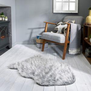 Aura Faux Fur Glacier Grey Sparkle Plain Rug by Flair Rugs