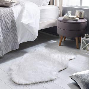 Aura Faux Fur Glacier Ivory Sparkle Plain Rug by Flair Rugs