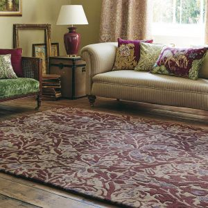 Autumn Flowers 27500 Plum Hand Tufted Wool Rug by Morris & Co.