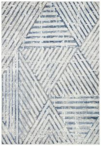 Bazaro BAZ10 Natural Blue Striped Rug by Concept Looms