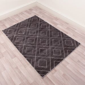 Bianco 196QA Dark Grey Geometric Rug by Ultimate Rug
