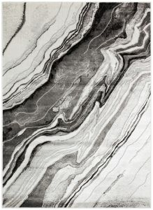 Blaze BLZ01 Silver Grey Abstract Rug by Concept Loons