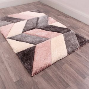 Blazon Blush 3D Shaggy Rug by Ultimate Rug