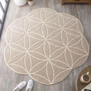 Bloom Grey Abstract Wool Circle Rug by Origins