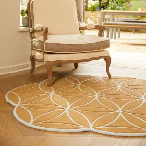 Bloom Ochre Abstract Wool Circle Rug by Origins