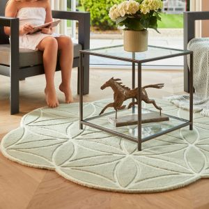 Bloom Soft Green Abstract Wool Circle Rug by Origins