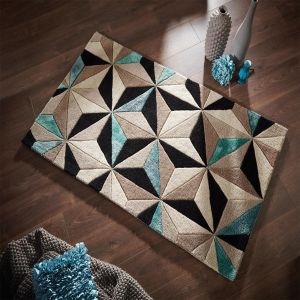 Botanical Scorpio Teal Rug By Flair Rugs
