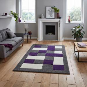 Brooklyn BRK04 Grey Purple Rug by Think Rugs