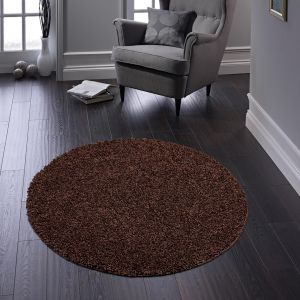 Buddy Brown Washable Plain Circle Rug By Origins