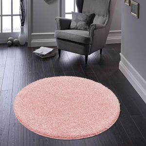 Buddy Candy Pink Washable Plain Circle Rug by Origins