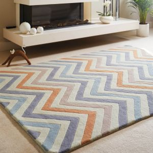 Cabone Pastel Geometric Wool Rug by Origins