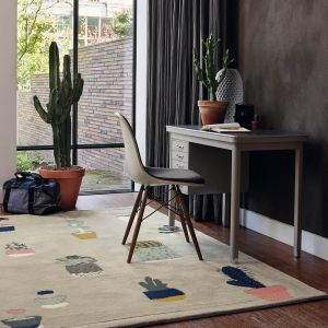 Cactus 56201 Grey Hand Tufted Wool Rug by Ted Baker