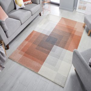 Cadiz Plaza Abstract Grey Pink Runner by Flair Rugs