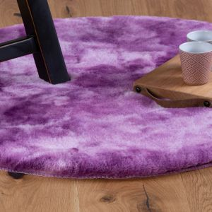 Camouflage CAM 915 Purple Shaggy Circle Rug by Obsession