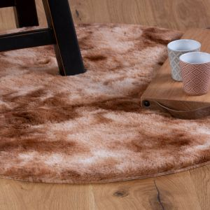 Camouflage CAM 915 Rust Shaggy Circle Rug by Obsession