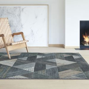 Canyon 052 - 0047 5555 Black Striped Contemporary Rug by Mastercraft