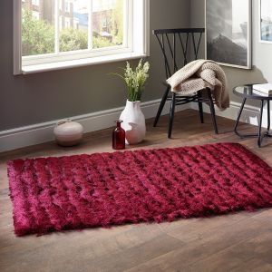 Carved Glamour Wine Shaggy Rug by Origins