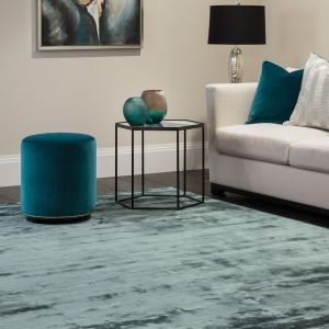 Chrome Petrol Plain Rug by Katherine Carnaby