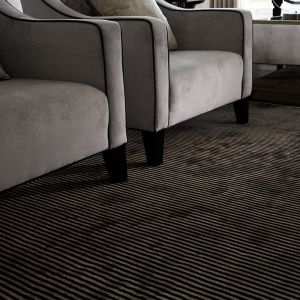 Chrome Stripe Nero Rug by Katherine Carnaby