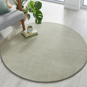 Cleo Dried Sage Plain Circle Rug by Flair Rugs