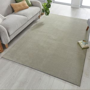 Cleo Dried Sage Plain Rug by Flair Rugs