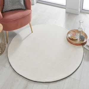 Cleo Ivory Plain Circle Rug by Flair Rugs