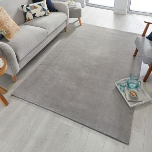 Cleo Silver Plain Rug by Flair Rugs