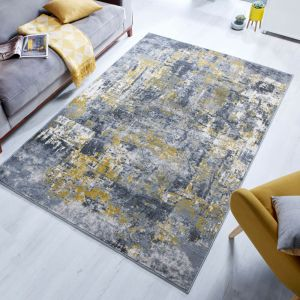 Cocktail Wonderlust Grey Ochre Abstract Rug by Flair Rugs