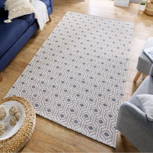 Cotone Bombax Grey Geometric Rug by Flair Rugs