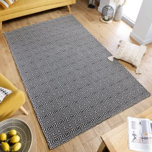 Cotone Pappel Black Cream Geometric Rug by Flair Rugs