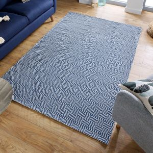 Cotone Pappel Blue Geometric Rug by Flair Rugs