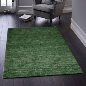 Country Tweed Forest Green Plain Wool Rug by Origins