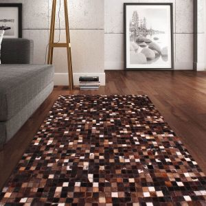 Cowhide Brown White Wool Rug by Prestige