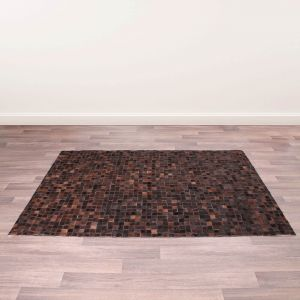 Cowhide Brown Wool Rug by Prestige