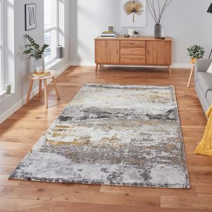Craft 19788 Grey Ochre Abstract Rug by Think Rugs