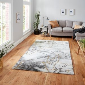 Craft 23270 Ivory Gold Abstract Rug by Think Rugs