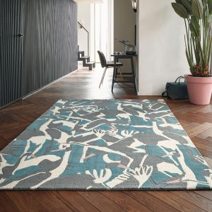 Cranes 57008 Petrol Hand Tufted Wool Rug by Ted Baker
