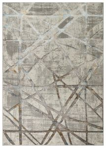 Dalia DAL08 Ivory Silver Abstract Rug by Concept Looms