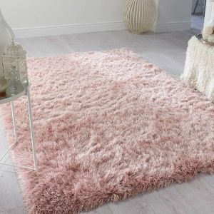 Dazzle Blush Pink Plain Shaggy Rug by Flair Rugs