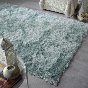 Dazzle Duck Egg Plain Shaggy Rug by Flair Rugs