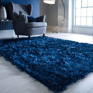 Dazzle Midnight Blue Plain Shaggy Rug by Flair Rugs