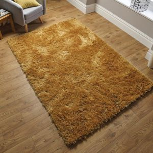 Dazzle Ochre Plain Shaggy Rug by Flair Rugs