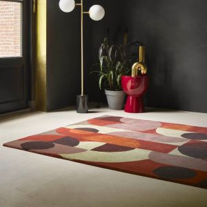 Decor Cosmo Red Pale Green 095203 Abstract Rug by Brink & Campman