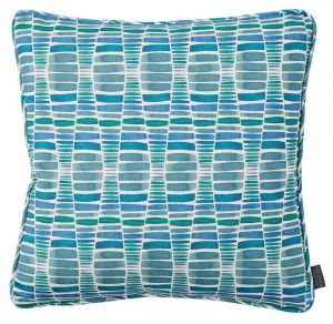 Desert Sea Blue Geometric Cushion by Claire Gaudion