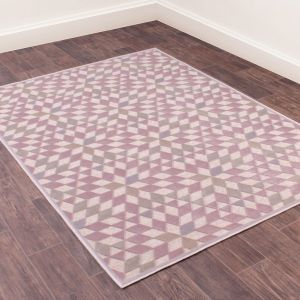 Dimensions 808 Rose Geometric Rug by Prestige